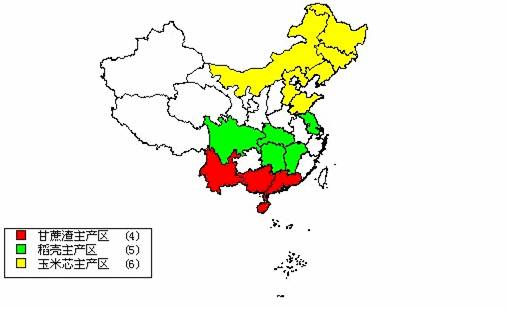 distribution of the major  potential biofuel crops in china