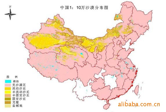 desertification levels throughout china