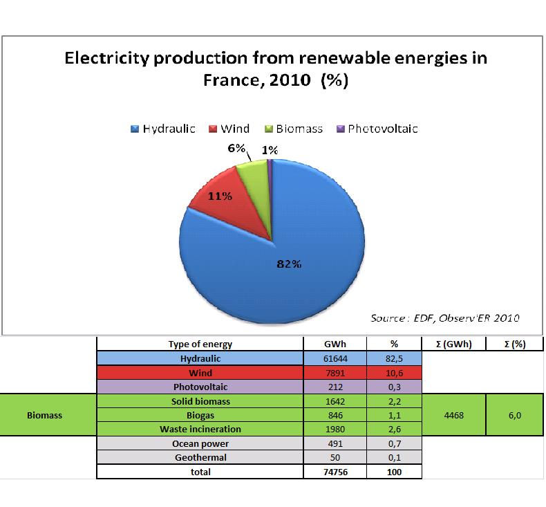 Electricity production from renewable energies in France, 2010