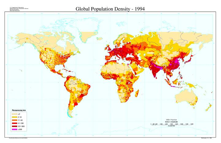 Global Population Density, 1994