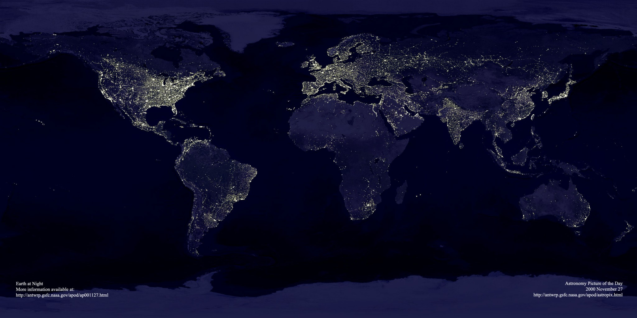 Earth at Night without Annotations