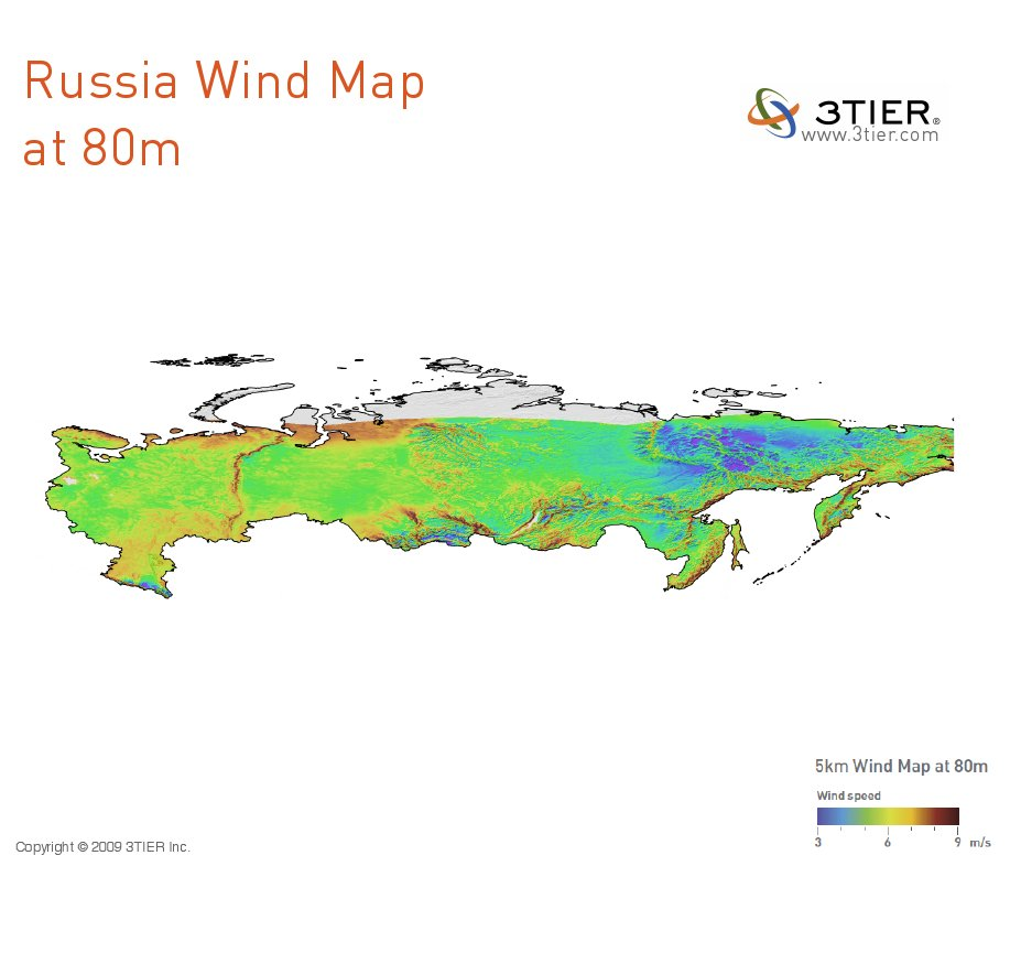 Russian Wind Map at 80m