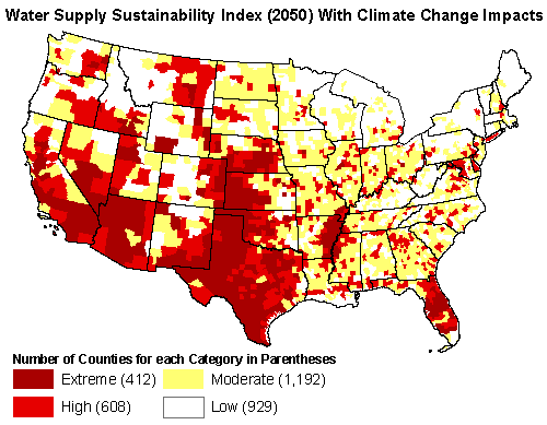 United States Water Stress, 2050