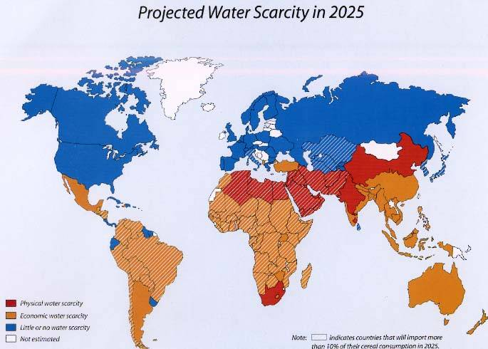 Projected water scarcity in 2025