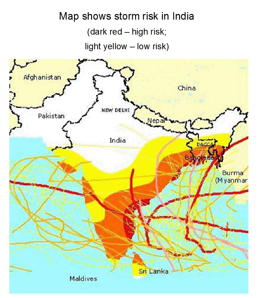 Storm risk in India