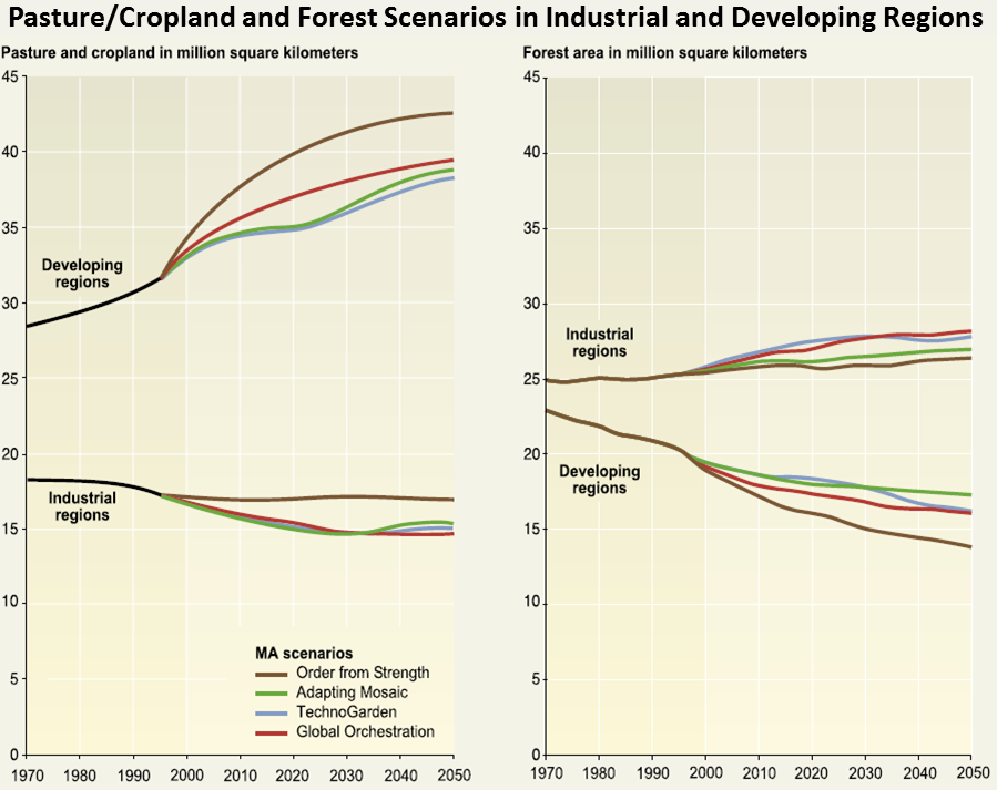 Pasture,Cropland and Forest Scenarios in Industrial and Developing Regions