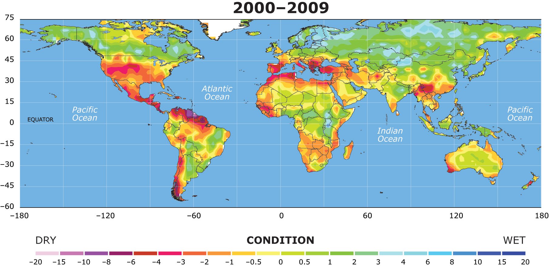 droughts from 2000 to 2099