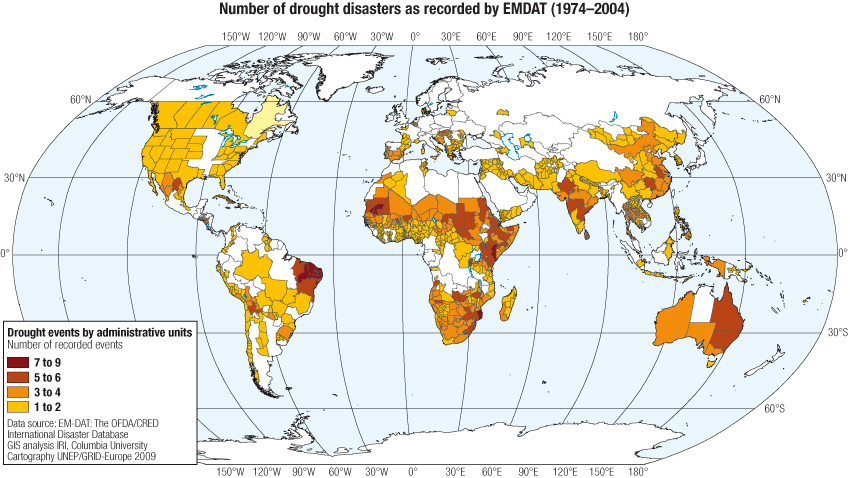 Number of drought disasters as recorded by EMDAT (1974-2004)