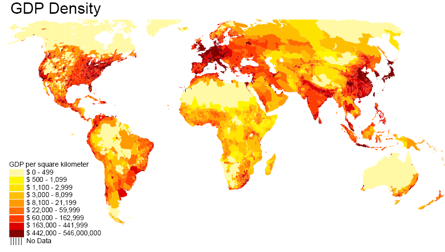 GDP density World Map