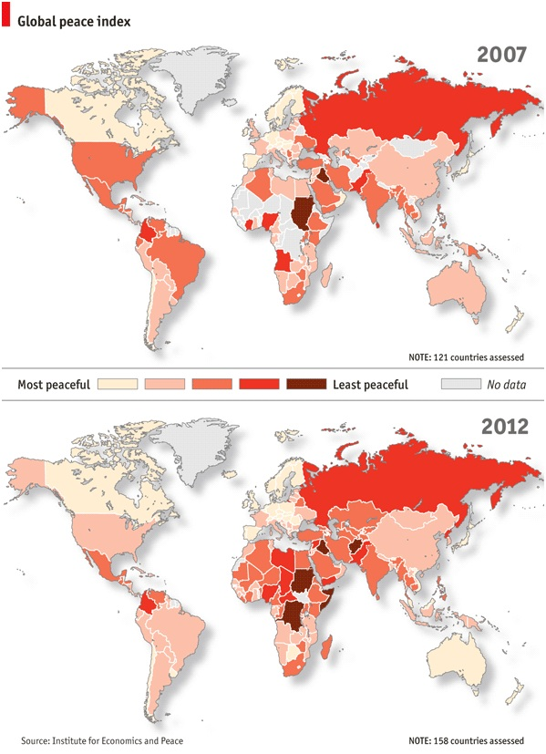 Global Peace Index 2007 and 2012