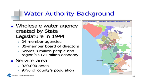 Background information about the San Diego County Water Authority