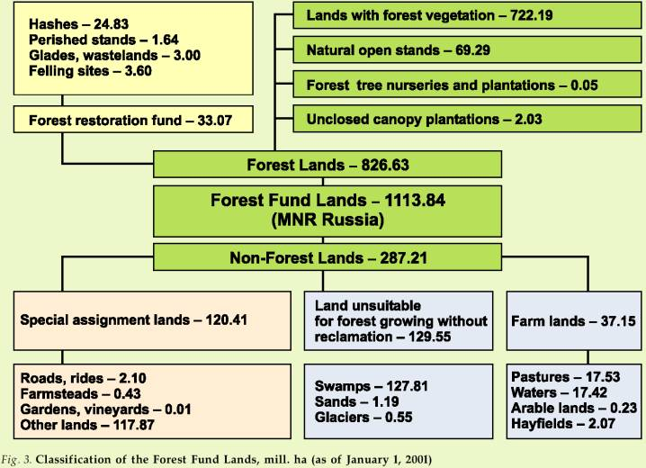 Classification of the Forest Fund Lands, million ha (as of January 1, 2001)