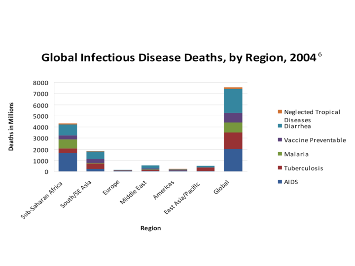 Deaths Due to Global Infectious Diseases (By Region) in 2004