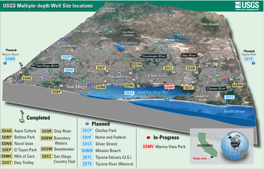 USGS Multiple- depth well locations in San Diego