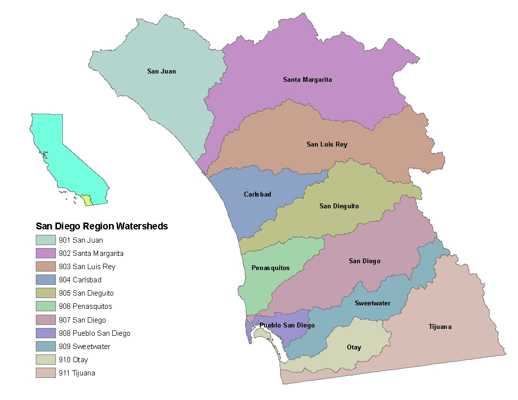 Map of watersheds in the San Diego region