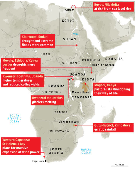Climate change hotspots in Africa