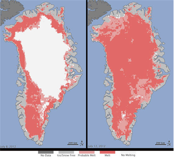 Satellite Data Indicates Unprecedented Greenland Ice Sheet Surface Melt