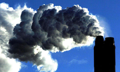 Emissions from a coal-fired power station. The output of greenhouse gases has ju