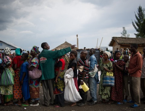 Internally displaced Congolese lined up early this month for food aid in a camp about six miles west of Goma.